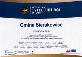 Akt nadania tytułu HIT TYTANOWY 2020